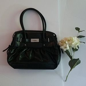 Anne Klein black faux alligator handbag